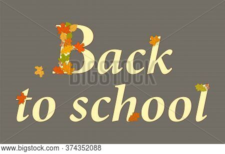 Slogan Back To School With Letters Decorated Drawn Colorful Autumn Maple And Oak Leaves. Vector Illu