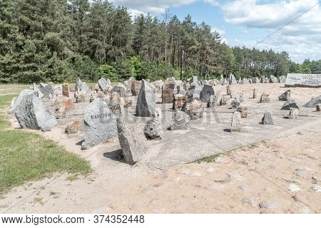 Wolka Okraglik, Poland - June 2, 2020: Memorial At Treblinka Ii, With 17,000 Quarry Stones Symbolisi