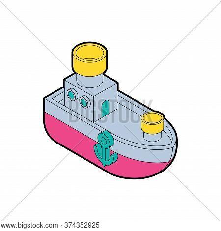 Steamboat Cartoon Style. Ship Kids Style. Vector Illustration