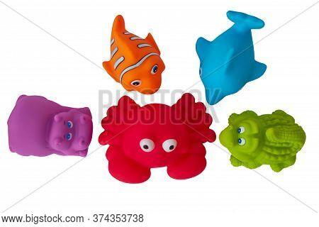 Bathing , Set Of Toys For Bathing Baby Isolated On White Background, Sea Animals