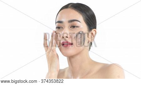 Beauty Concept. Asian Women Masking Their Faces With Mud On A White Background. 4k Resolution.