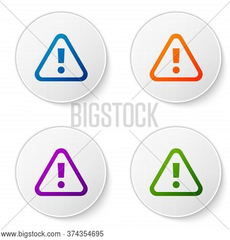 Color Exclamation Mark In Triangle Icon Isolated On White Background. Hazard Warning Sign, Careful,