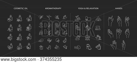 Vector Icon And Logo Collection For Natural Cosmetics Oil Care Dry Skin, Aromatherapy, Yoga Or Relax