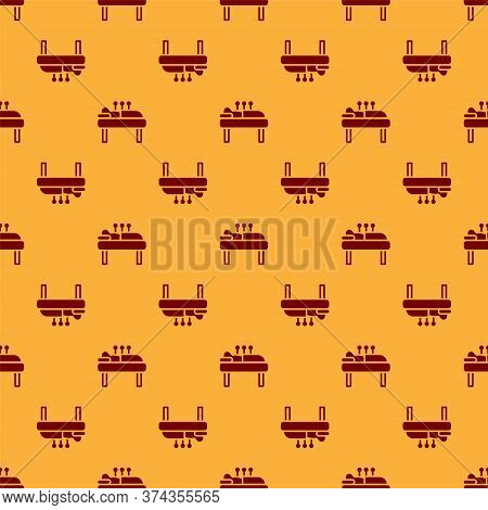 Red Acupuncture Therapy Icon Isolated Seamless Pattern On Brown Background. Chinese Medicine. Holist