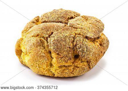 Corn Bread Or Brazilian Fuba, On Isolated White Background. Homemade Cheese Bread, Called Broa Or Br