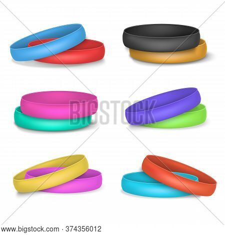 Realistic 3d Detailed Color Blank Promo Bracelets Empty Template Mockup Set. Vector Illustration Of