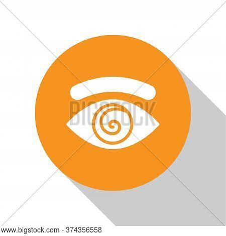 White Hypnosis Icon Isolated On White Background. Human Eye With Spiral Hypnotic Iris. Orange Circle