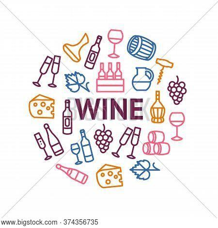 Wine Thin Line Concept Round Design Template Banner Include Of Bottle, Barrel, Grape, Corkscrew, Win