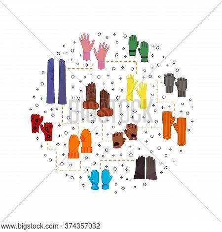 Cartoon Color Woolen Mittens Concept Design Template Banner Winter Cloth Concept Element Flat Design