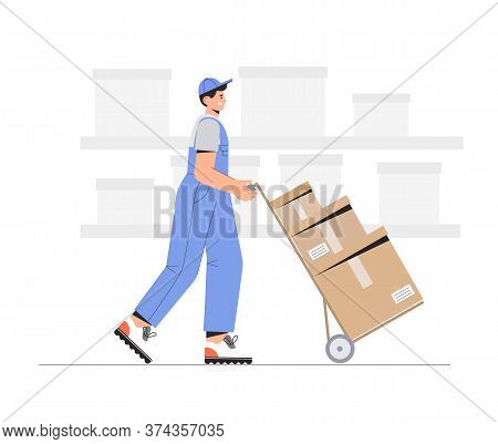 Warehouse Delivery Business Illustration. Warehouse Workers Characters Unloading Boxes. Flat Style V