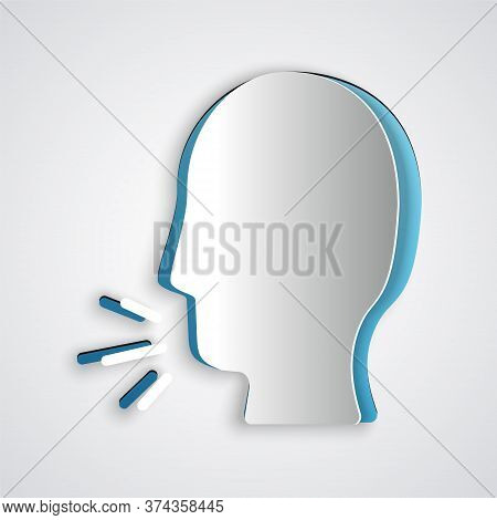 Paper Cut Man Coughing Icon Isolated On Grey Background. Viral Infection, Influenza, Flu, Cold Sympt