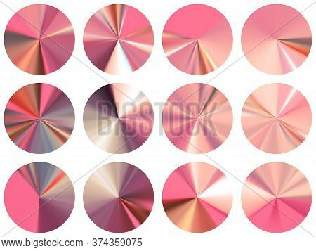 Pink Gold Round Metallic Gradient Web Elements Vector Collection. Isolated Multicolor Swatches. Bann