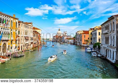 Venice Grand Canal And Santa Maria Della Salute Church, Italy