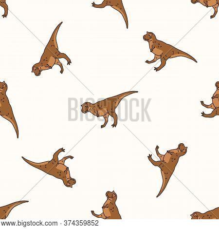 Seamless Background Carnotaurus Dinosaur Gender Neutral Baby Pattern. Simple Whimsical Earthy 2 Tone