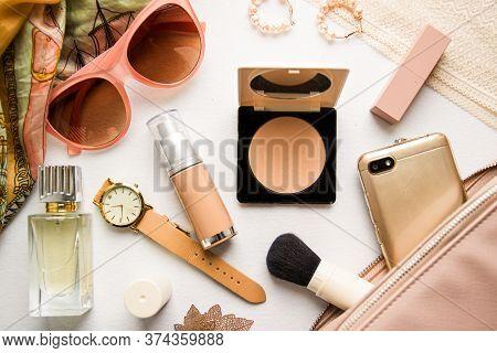 Fashion Design Woman Accessories Set. Pastel Colors.cosmetic Makeup.trendy Sunglasses Handbag Clutch