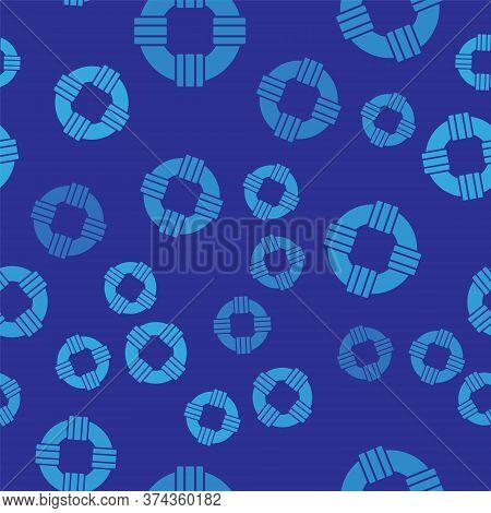 Blue Lifebuoy Icon Isolated Seamless Pattern On Blue Background. Lifebelt Symbol. Vector.