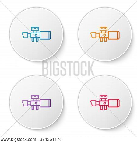 Color Line Sniper Optical Sight Icon Isolated On White Background. Sniper Scope Crosshairs. Set Icon