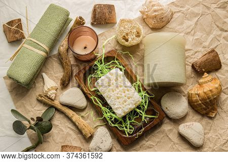 Natural Spa And Skincare Beauty Cleansing Products With Bathroom Accessories Including Natural Spong