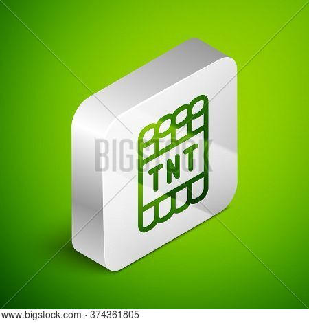 Isometric Line Detonate Dynamite Bomb Stick And Timer Clock Icon Isolated On Green Background. Time