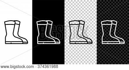Set Line Fishing Boots Icon Isolated On Black And White Background. Waterproof Rubber Boot. Gumboots