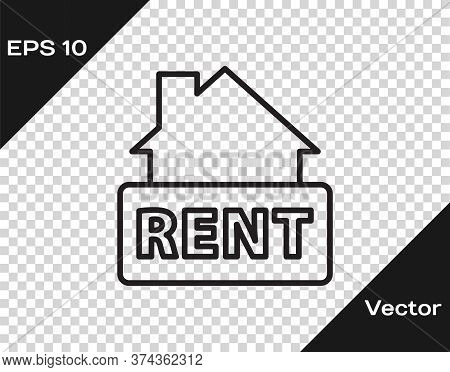 Black Line Hanging Sign With Text Rent Icon Isolated On Transparent Background. Signboard With Text