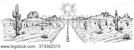 Desert Road Panorama Landscape, Vector Illustration. American Desert With Cactuses And Sand Rocks. U