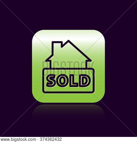 Black Line Hanging Sign With Text Sold Icon Isolated On Black Background. Sold Sticker. Sold Signboa