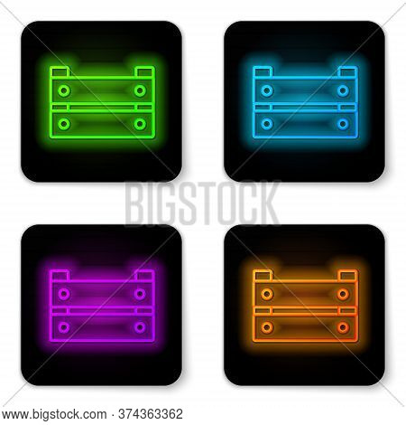 Glowing Neon Line Wooden Box Icon Isolated On White Background. Grocery Basket, Storehouse Crate. Em