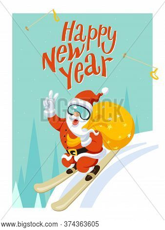 Christmas, New Year Illustration, Card. Santa Claus Jumping From Springboard.near Hare And Owl, Fore