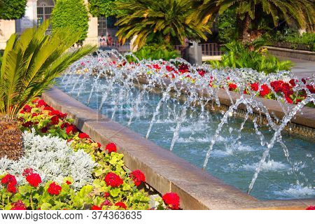 Colorful Garden Of The Glorieta In Murcia To Walk And Enjoy The Flowers