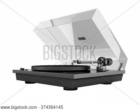 Vinyl Turntable Player Isolated On White Background 3d Without Shadow