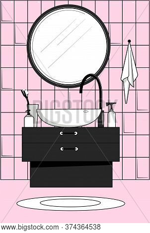 Stylized Vector Image Of A Bathroom. Wash Basin And Mirror.