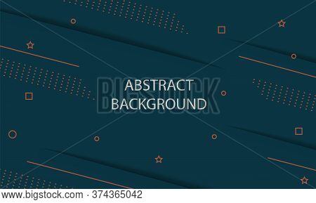 Abstract Geometric Background. Shade, Shadow And Gradient Of Dot, Square, Line, Circle, Star On Gree