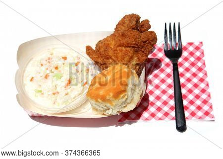 Fried Chicken with Coleslaw. Crispy Fried Chicken for Lunch or Dinner. Isolated on white. Room for text. Hot and Crispy Fried Chicken.