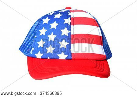 American Flag Hat. USA Ball Hat. Isolated on white. 4th of July Holiday Party Hat.