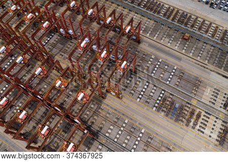Kwai Tsing, Hong Kong 24 June 2020: Top down view of Hong Kong container port