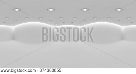 Empty White Room Hdri Environment Map With White Wall, Floor And Ceiling With Small Round Embedded C