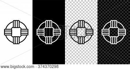 Set Line Lifebuoy Icon Isolated On Black And White Background. Lifebelt Symbol. Vector.