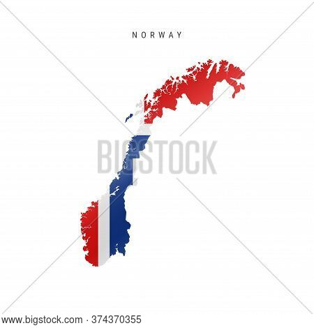 Detailed Waving Flag Map Of Norway. Vector Map With Masked Flag.
