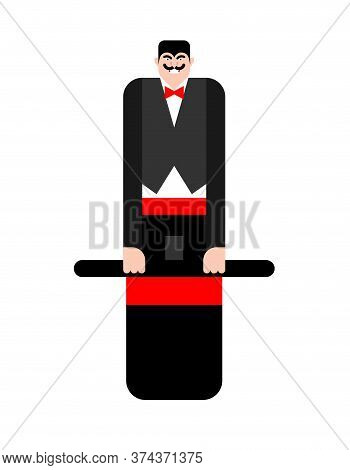 Magician Inside Magic Hat. Vector Illustration. Focus Trick On Contrary