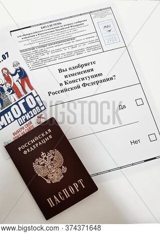 Moscow / Russia - 01/07/2020: An Empty Ballot For Voting To Amend The Constitution Of The Russian Fe