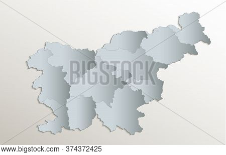 Slovenia Map, Administrative Division With Names, White Blue Card Paper 3d Blank