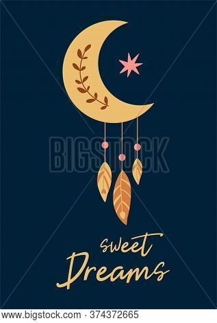 Cute Baby Moon Shape Feathers Kids Moon Dreamcatcher Sweet Dreams Text Baby Boho Chic Print Vector