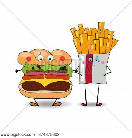 French Fries With Hamburger, Burger, Cheeseburger Illustration For Fastfood Places. Vector