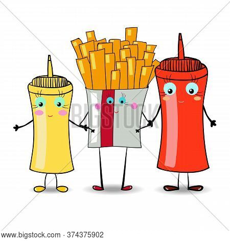 French Fries With Mustard And Ketchup Illustration For Fastfood Places. Vector