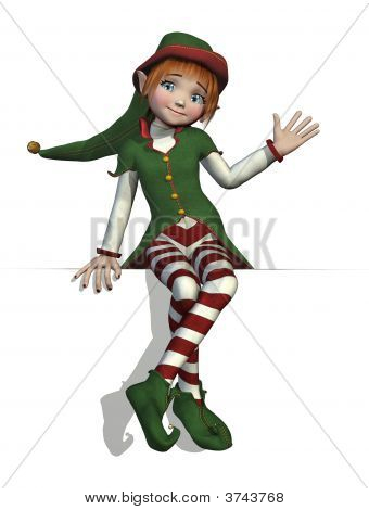 Santa\'S Elf Sitting On An Edge