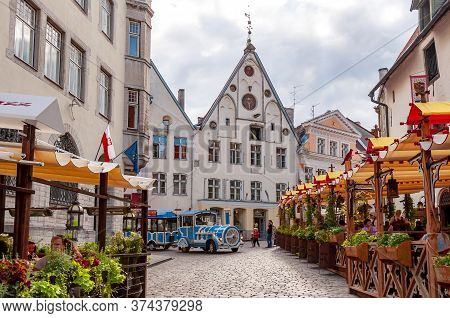 Streets Of Old Tallinn With Cafes And Restaurants, Estonia - August 2019