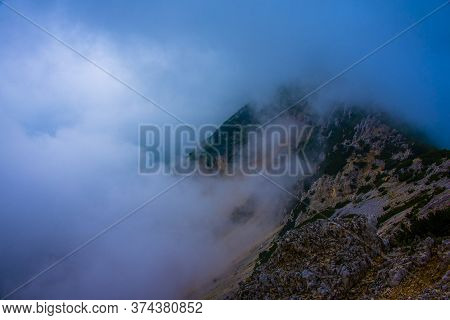 White Clouds On The Tops Of The Venetian Pre-alps On The Chain Of Monte Baldo On Lake Garda, Malcesi