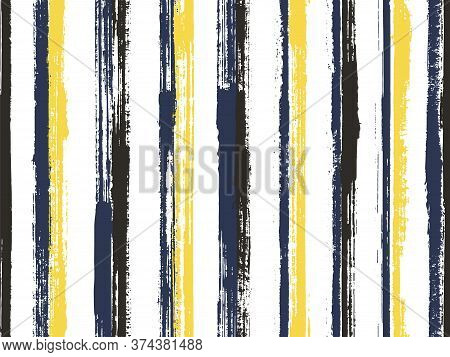 Watercolor Hand Drawn Parallel Lines Vector Seamless Pattern. Abstract Decorative Wallpaper Design.