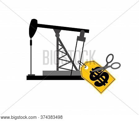 Oil Rig Price Tag And Scissors. Oil Price Decline. Cutting Prices Illustration. Discount Price Reduc